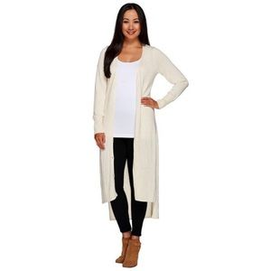 H by Halston Maxi Cardigan Duster Sweater Buttons
